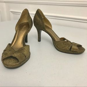 "Michelle D 3"" Gold Glitter Heels 7 Slip On"
